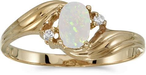 10k yellow gold oval opal and ring cm rm885 10