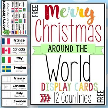 merry christmas   world cards  clever classroom tpt