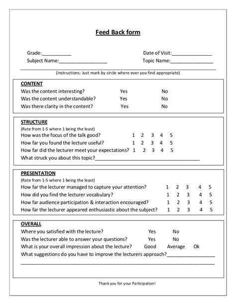 teaching feedback form template feedback form