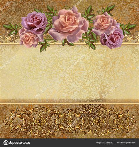 imagenes de rosas rojas vintage fondo vintage dorado guirnaldas de flores de rosas pastel