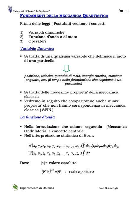meccanica quantistica dispense fondamenti della meccanica quantistica dispense
