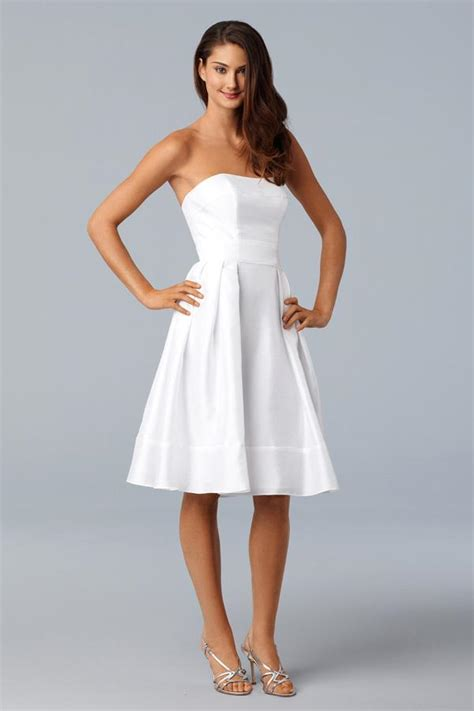 White Bridesmaid Dress by Knee Length White Shantung Self Belt Mini