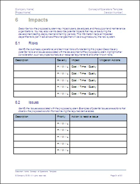 concept of operations template download ms word sle