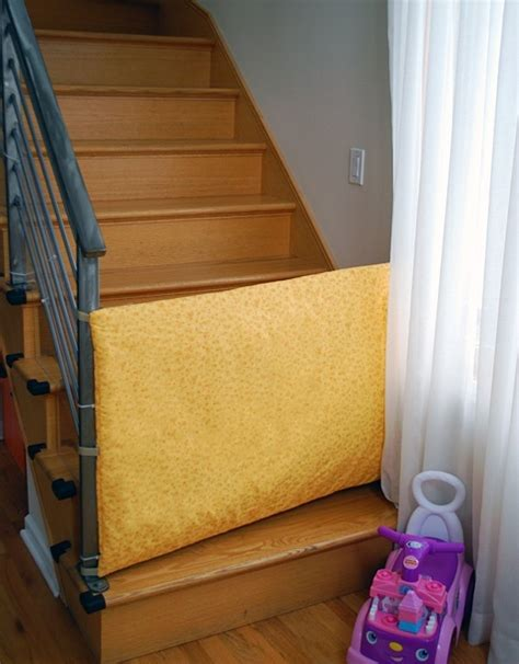 Baby Gates For Bottom Of Stairs With Banister by Heres How To Make A Fabric Safety Gate For Baby And