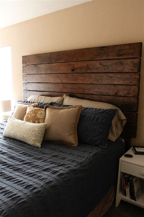 easy diy wood plank headboard do it yourself ideas