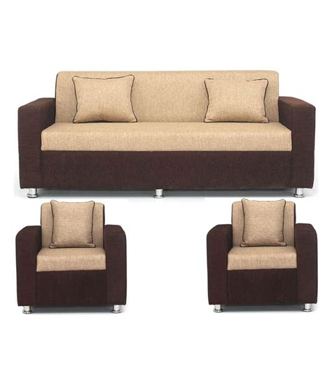 home sofa set buy sofa set in cream brown upholstery with 4 cushions