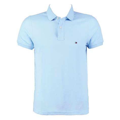 light blue collared shirt hilfiger polo shirt light blue mens