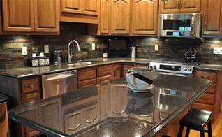 black countertop multicolor slate backsplash backsplash