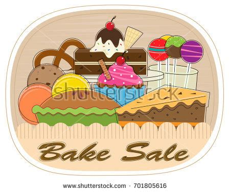 art of sale bake sale clipart assorted pastries bake stock vector