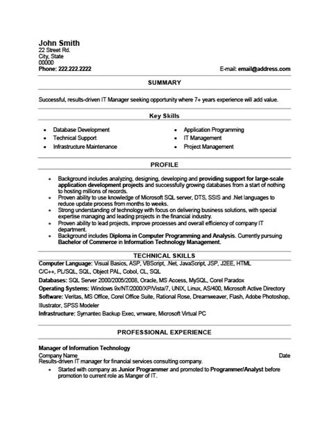 Resume Templates 101 by It Manager Resume Template Premium Resume Sles Exle