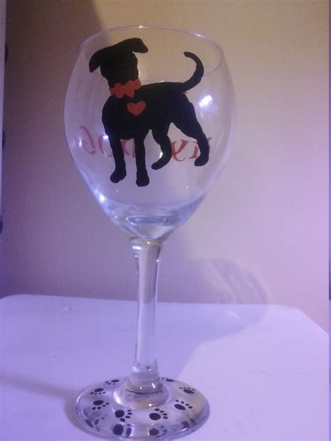 puppy wine painted wine glass puppy furbaby by decorbyjey