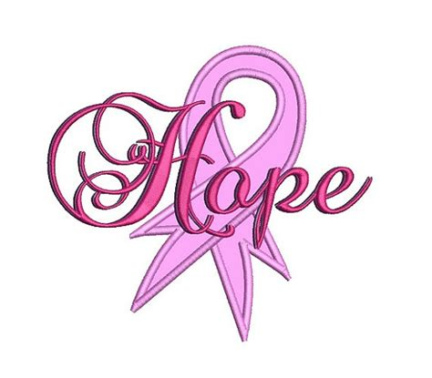 Hope Breast Cancer Ribbon Applique Machine Embroidery Cancer Ribbon Designs 2