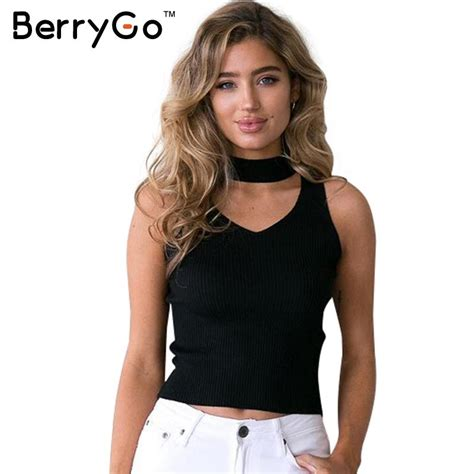 Halter Camisole Top aliexpress buy berrygo knitted halter camisole