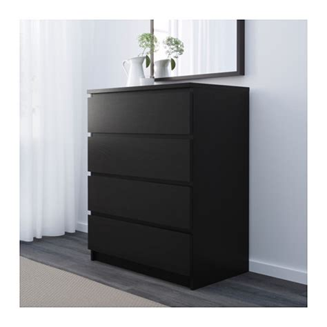malm chest of 4 drawers black brown 80x100 cm ikea