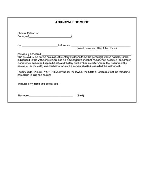 Acknowledgement Letter For Verification best photos of florida notary form template notary