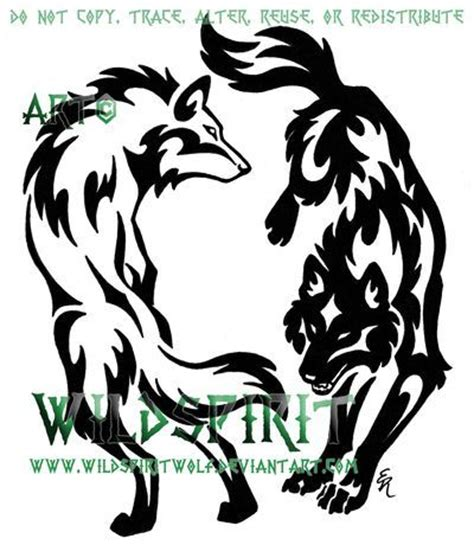 tribal couple tattoos best 25 two wolves ideas on chest