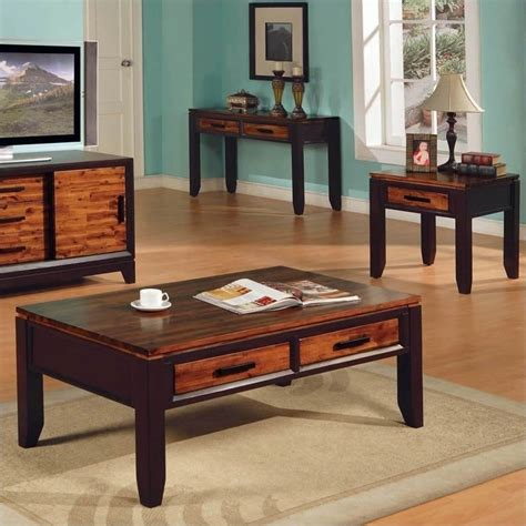 cafe 3 occasional table set espresso steve silver company matinee 3 coffee table set