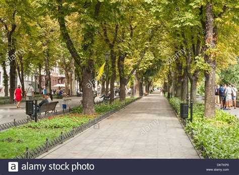 shaded pedestrian walkway leading to the potemkin stairs in odessa stock photo royalty free