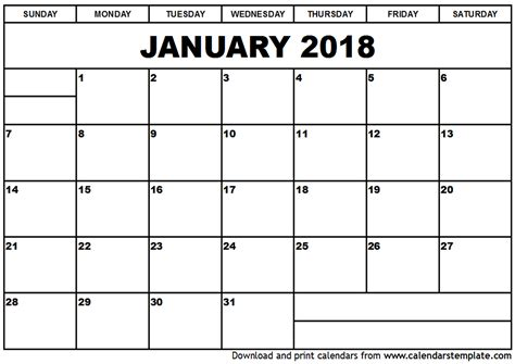 printable calendar for january 2018 january 2018 calendar template