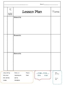 Language Lesson Plan Template foreign language lesson plan template block schedule by srta libertad