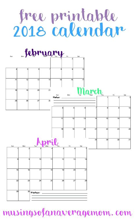 Musings Of An Average Mom 2018 Horizontal Calendars Printable Calendar Template 2018