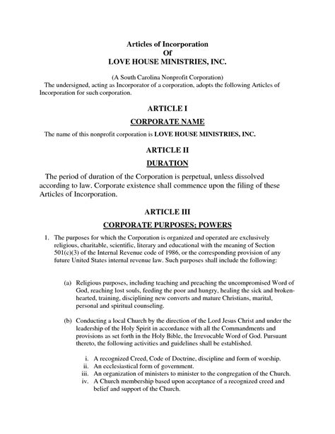 Nonprofit Articles Of Incorporation Template For Churches California Church Articles Of Incorporation Sle Templates Resume Exles V0a23bjyr4