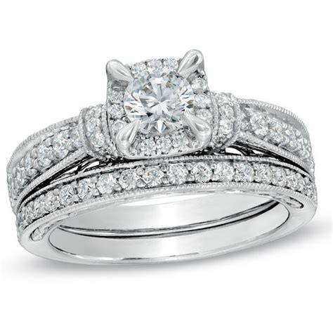 1 1 5 ct t w vintage style bridal set in 14k