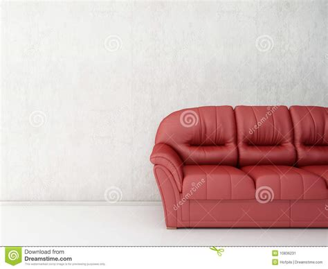 face couch red leather couch to face a blank wall stock image image