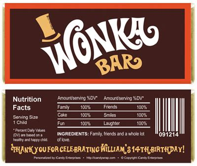 willy wonka inspired birthday candy bar wrappers