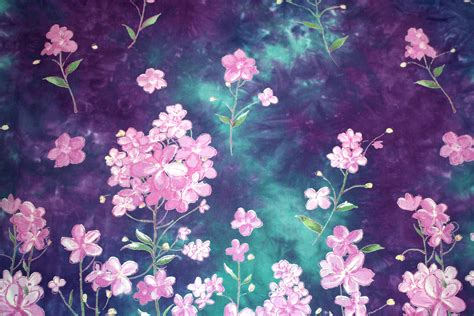 batik pattern high resolution purple and green batik fabric texture with flowers picture
