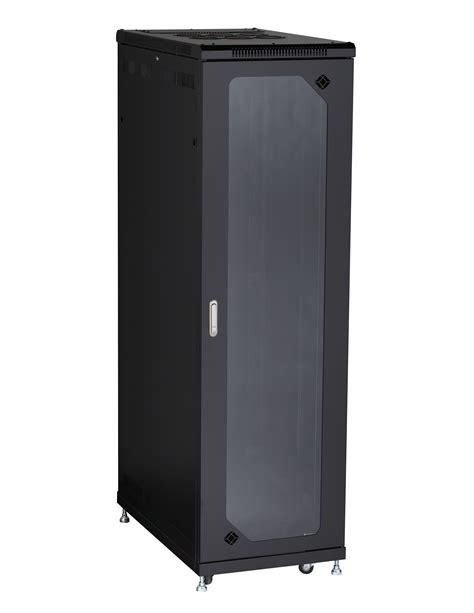 Tempered Glass Cabinet Doors 42u Split Rear Door Cabinet 24 Quot W X 40 Quot D Tempered Glass Front Black Box