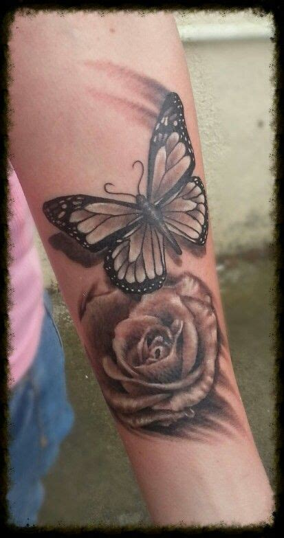 butterfly on rose tattoo butterfly and ideas