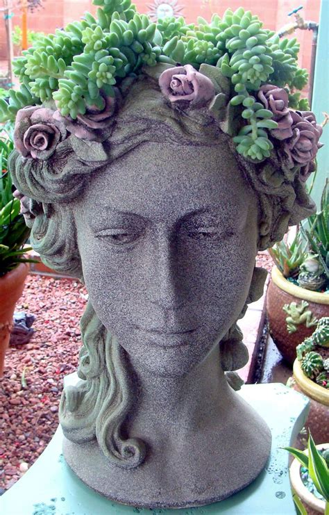 face planters donkey tail in head planter garden ladies heads faces