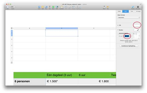os x color picker is it possible to color a table cell from the os x color