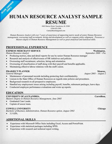 Resume Exles Human Resources Resume Format Resume Template Human Resources