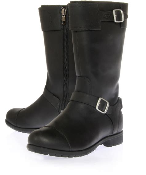 leather biker boots ugg black gershwin leather biker boots in black lyst