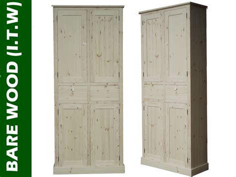 Wood Pantry Cabinet Solid Wood Cupboard 7ft Handcrafted Larder Pantry