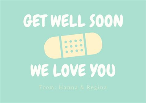 heart bandaid get well soon card templates by canva
