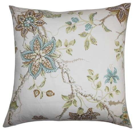 Natures Pillows Inc by Ululani Floral Pillow Brown Blue 18 Quot X 18 Quot Traditional