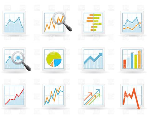 statistical charts and diagrams statistics and analytics icons with charts and diagrams