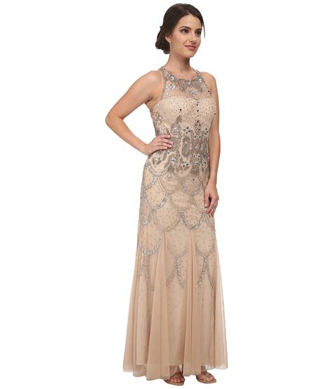 beaded halter gown papell halter fully beaded gown in metallic lyst