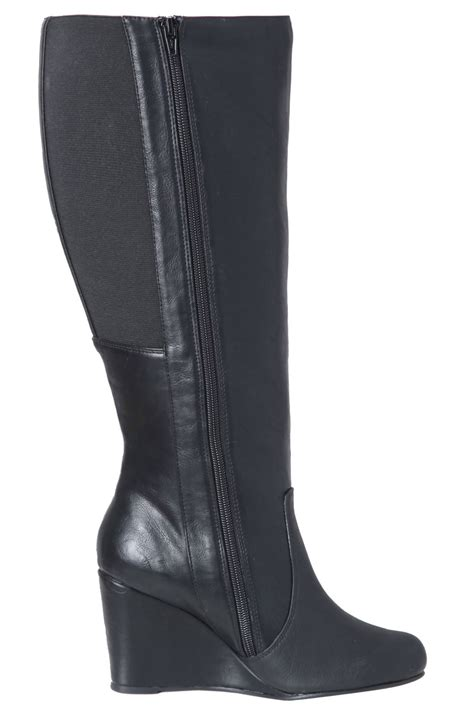 black wedge boots with elastic stretch panel eee fit