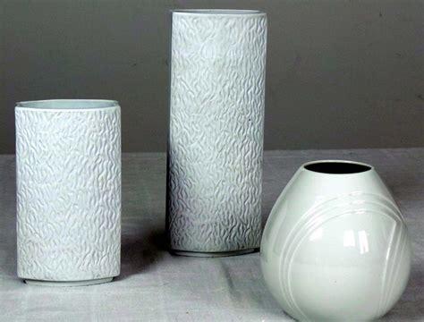 White Ceramic Vases by Three Graceful White Ceramic Vases Modernism