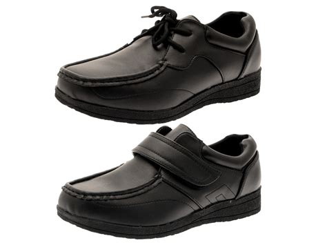 boys school shoes mens work black faux leather shoes