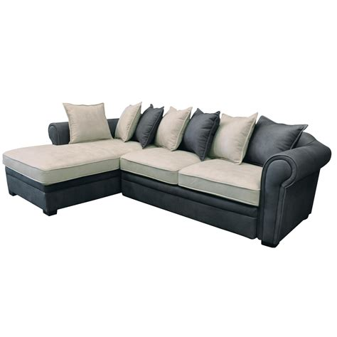 Grey Corner Sofa Bed Sofa Bed Right Corner Fabric Nabuk Grey Ecru