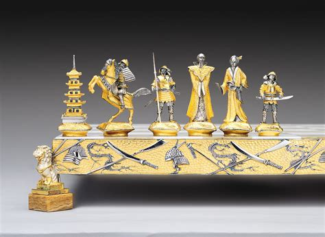 theme chess sets samurai gold and silver theme chess set