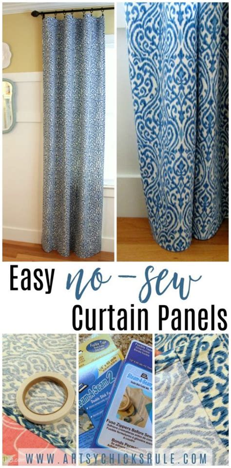 easy sew curtain patterns easy no sew curtain panels artsy chicks rule 174