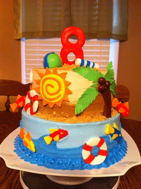 themed birthday cake recipes beach themed birthday cake cakes by meridyth pinterest