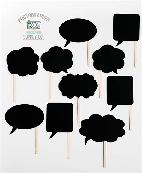 free printable photo booth props black and white 10 piece blank thought bubble photo booth props