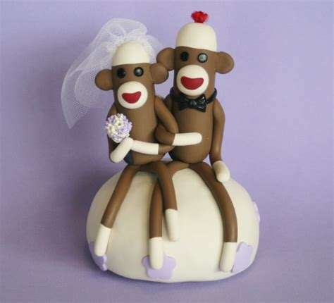 Monkey For Your Wedding by Spiritmama And Soul Sock Monkey Wedding Cake Toppers